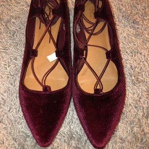 Burgundy-Red Pointed Toe Velvet Ankle Wrap Sandal